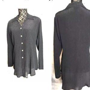 ISDA & Co Black Silk Crinkle V Neck L/Sleeve Tunic